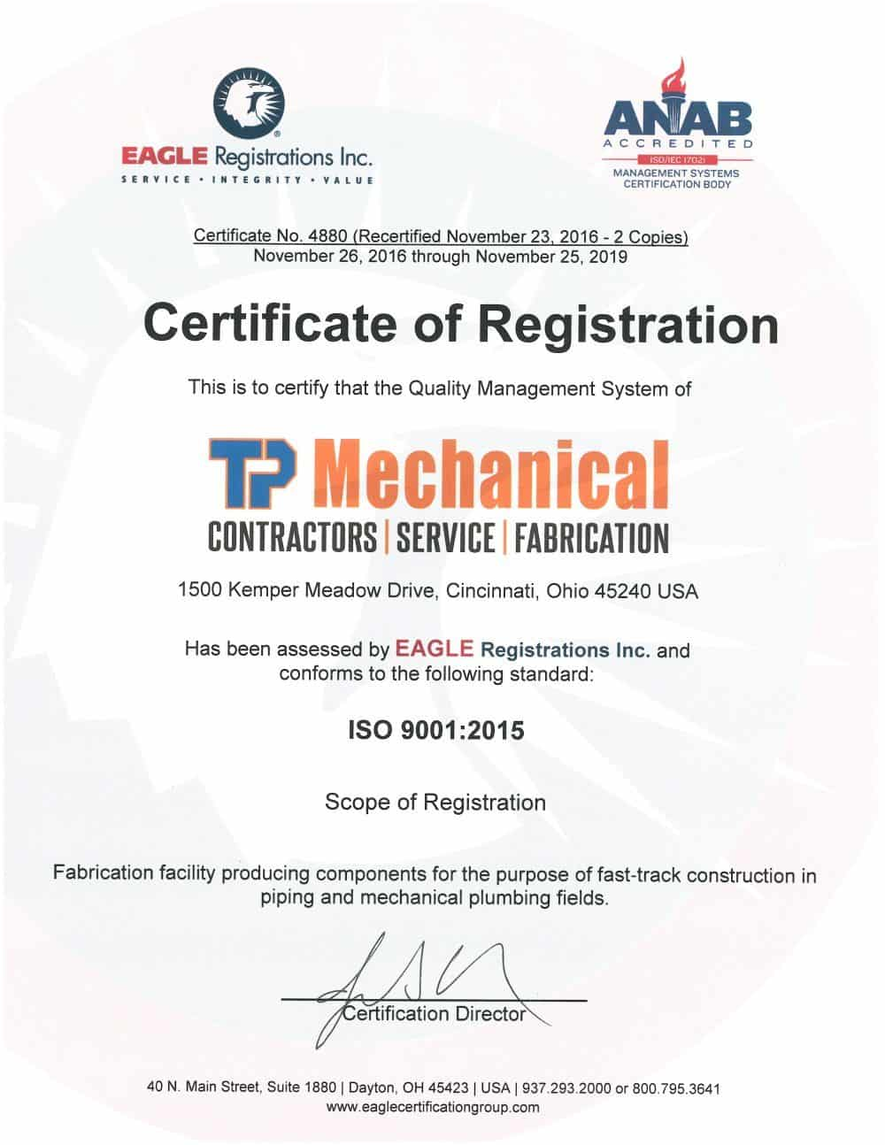 Certification for quality management systems tp mechanical piping and mechanical plumbing fields the firms iso 90012015 certificate is registered through eagle registrations inc and anab accredited firm xflitez Gallery
